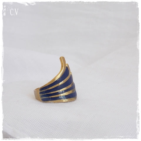 Dark Blue Geometric Ring