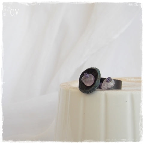 Amethyst Crystal Black Leather Ring