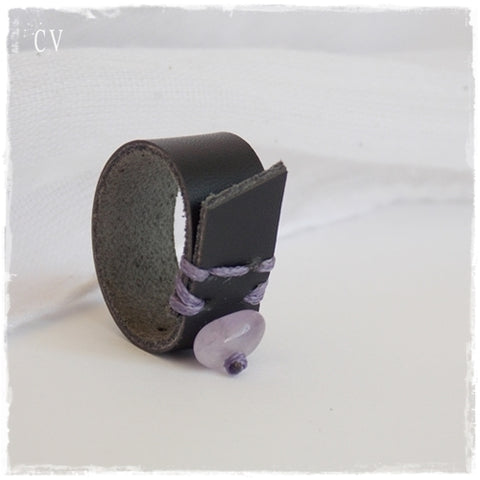 Black Leather Ring Band with Amethyst Stone