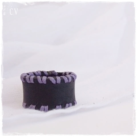 Gothic Black Leather Ring