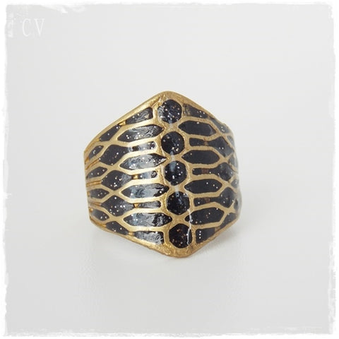 Black Brass Shield Ring