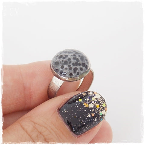Silver Moon Polymer Clay Ring