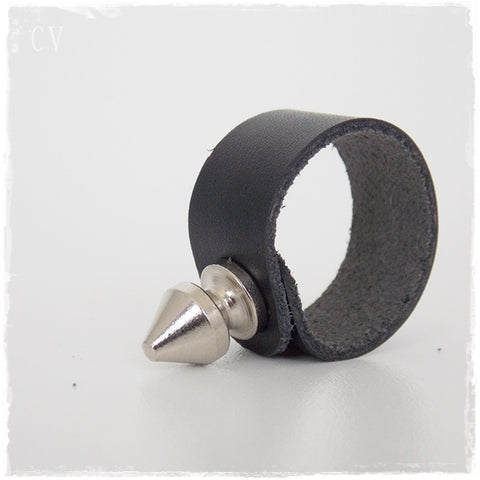 Spike Leather Ring