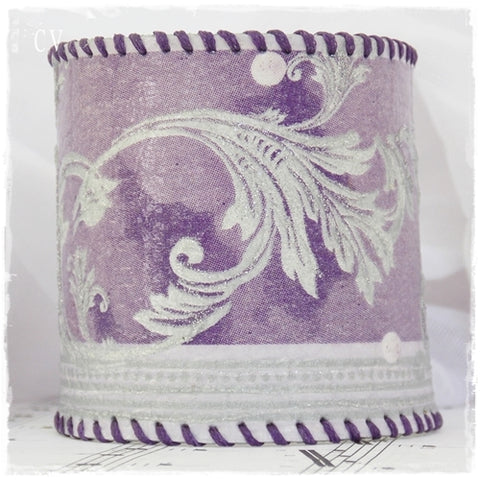 Paisley Wide Purple Leather Cuff Bracelet