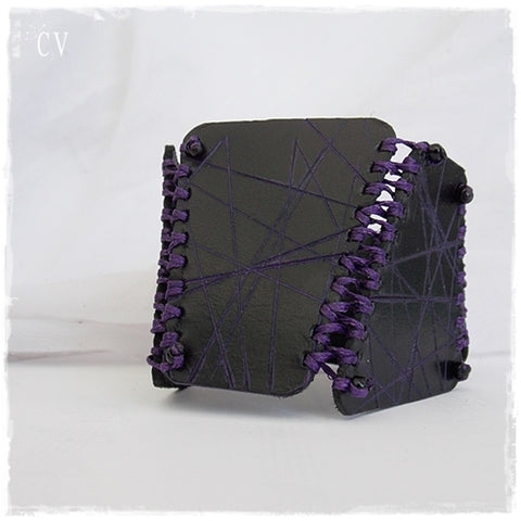 Black Corset Leather Cuff Bracelet