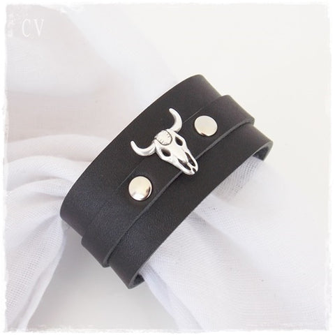 Bull Head Wide Leather Cuff Bracelet
