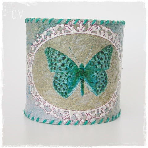Butterfly Wide Leather Cuff Bracelet