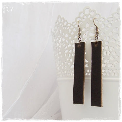 Bar Brown Leather Earrings