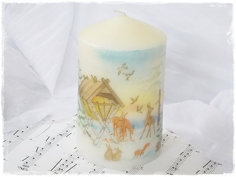 Winter Scenery Christmas Candle