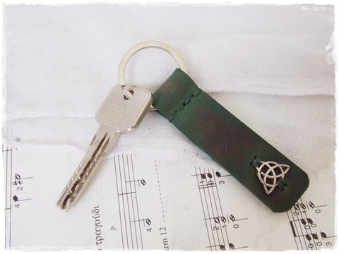 Triquetra Leather Keychain ~