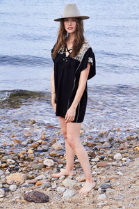 Embroidered Black Kaftan