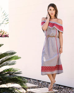 Indigo Stripe embroidered midi dress