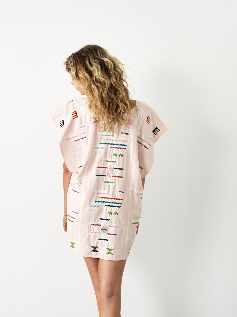 Short Pink Embroidered Kaftan
