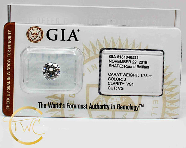1.73 Ct. Round Brilliant Diamond J VS1 GIA