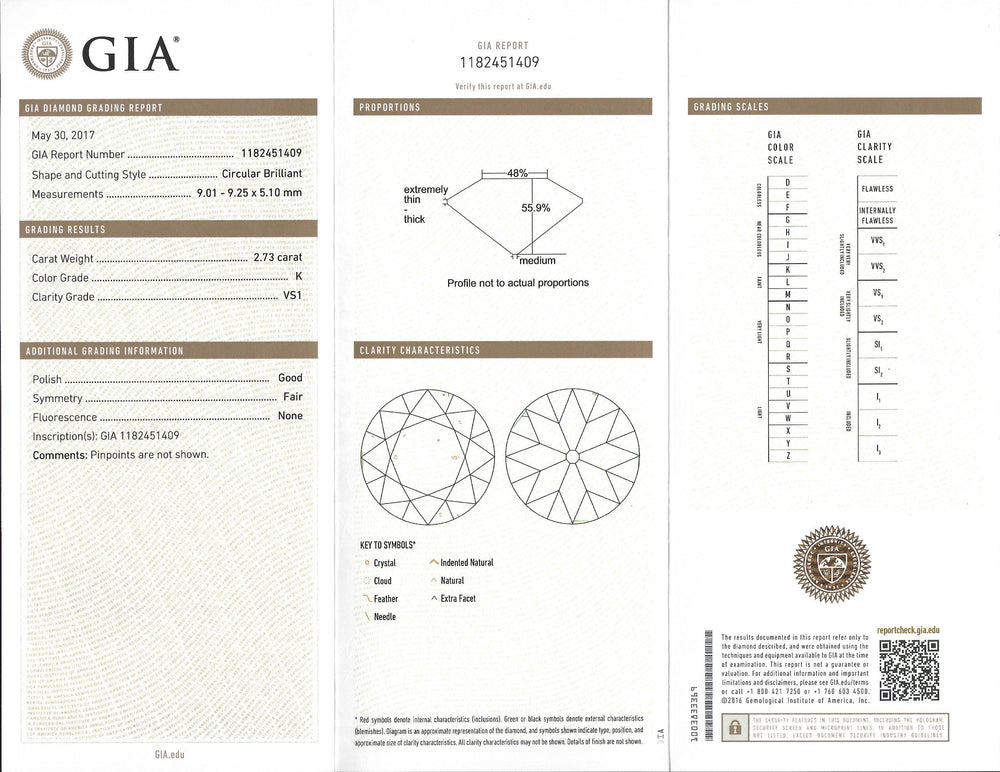 2.73 Ct Circular Brilliant K VS1 GIA Certified Diamond