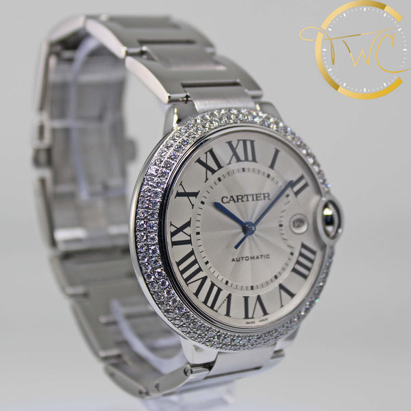 Cartier Ballon Bleu Custom Diamond Bezel Stainless Steel 42mm W69012Z4