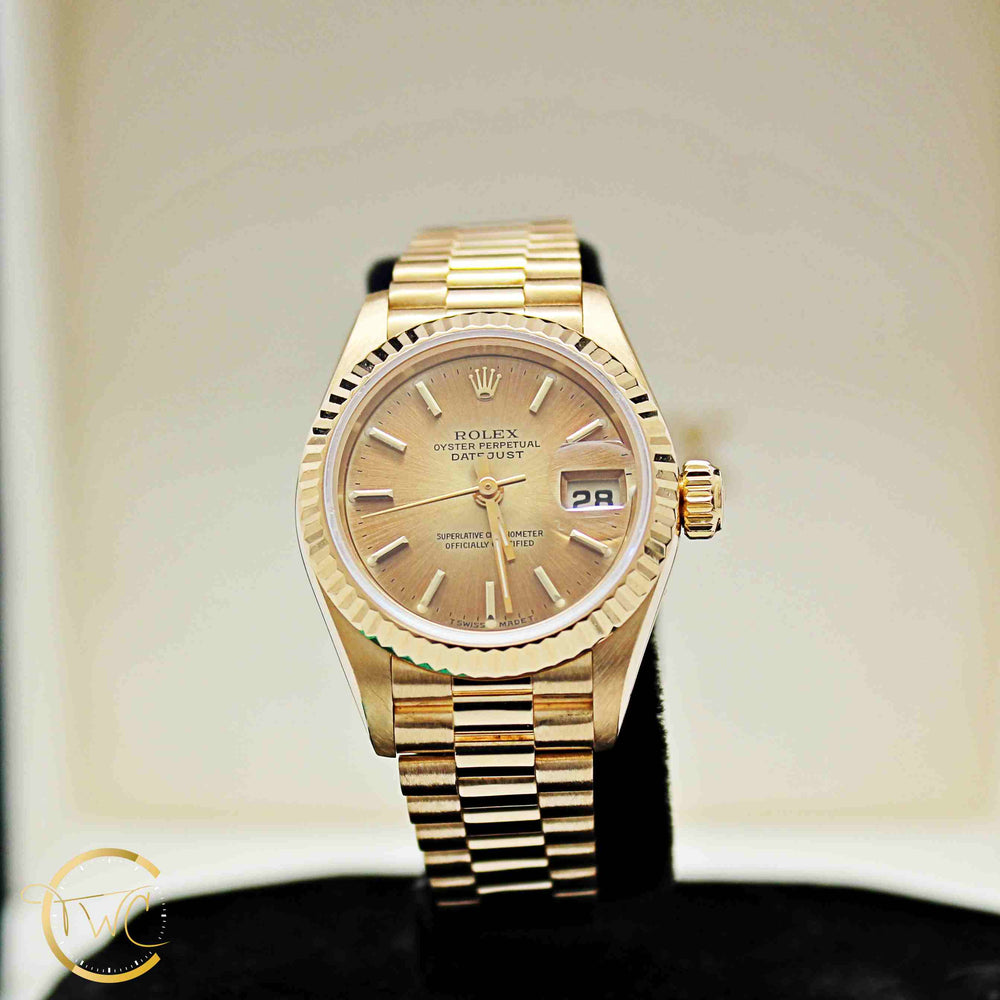 Rolex Datejust 18K Yellow Gold Ladies 1995 Ref. 69178 Champagne Stick Dial