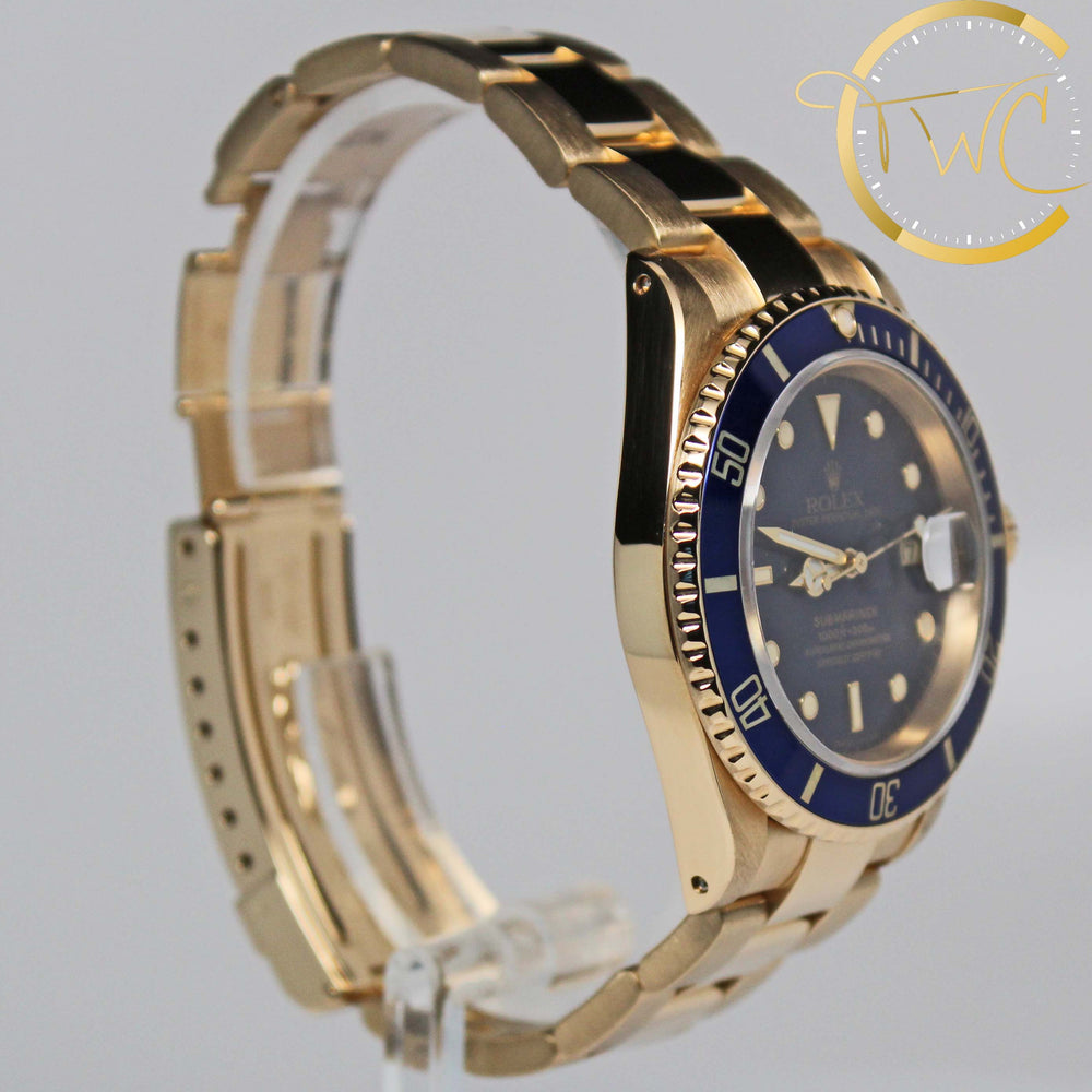 Rolex Submariner 18Kt Gold 1992 N Serial Ref 16618