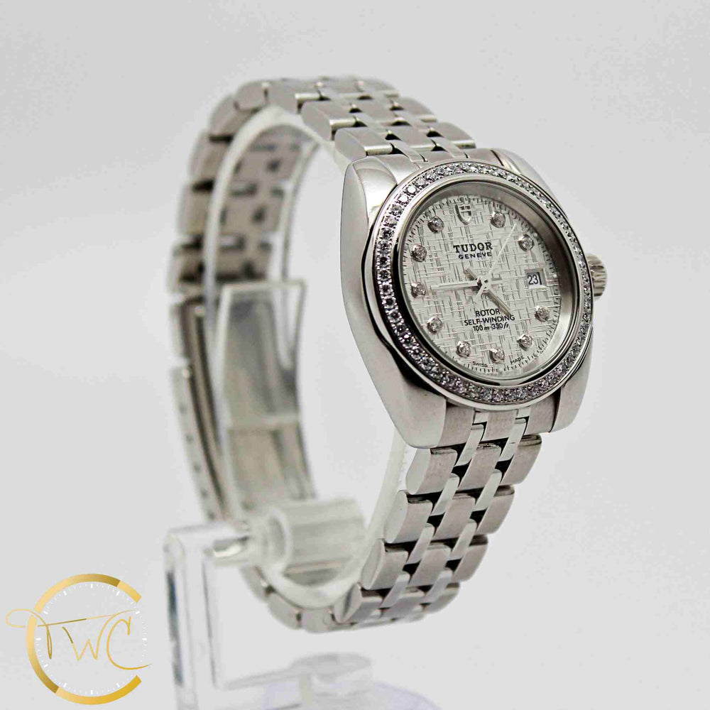 Tudor Classic Date Ladies 28mm Steel Case Diamond Dial & Bezel 22020