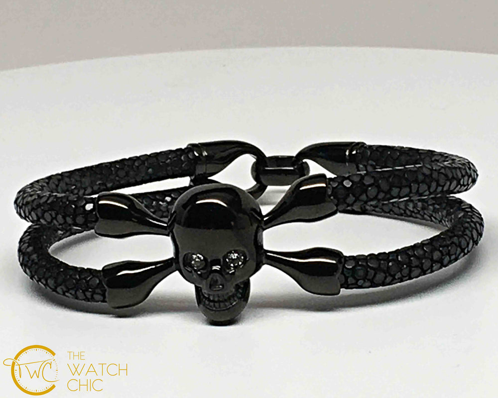 Black Stingray Leather Bracelet Black Skull Clear Swarovski Cristal eyes