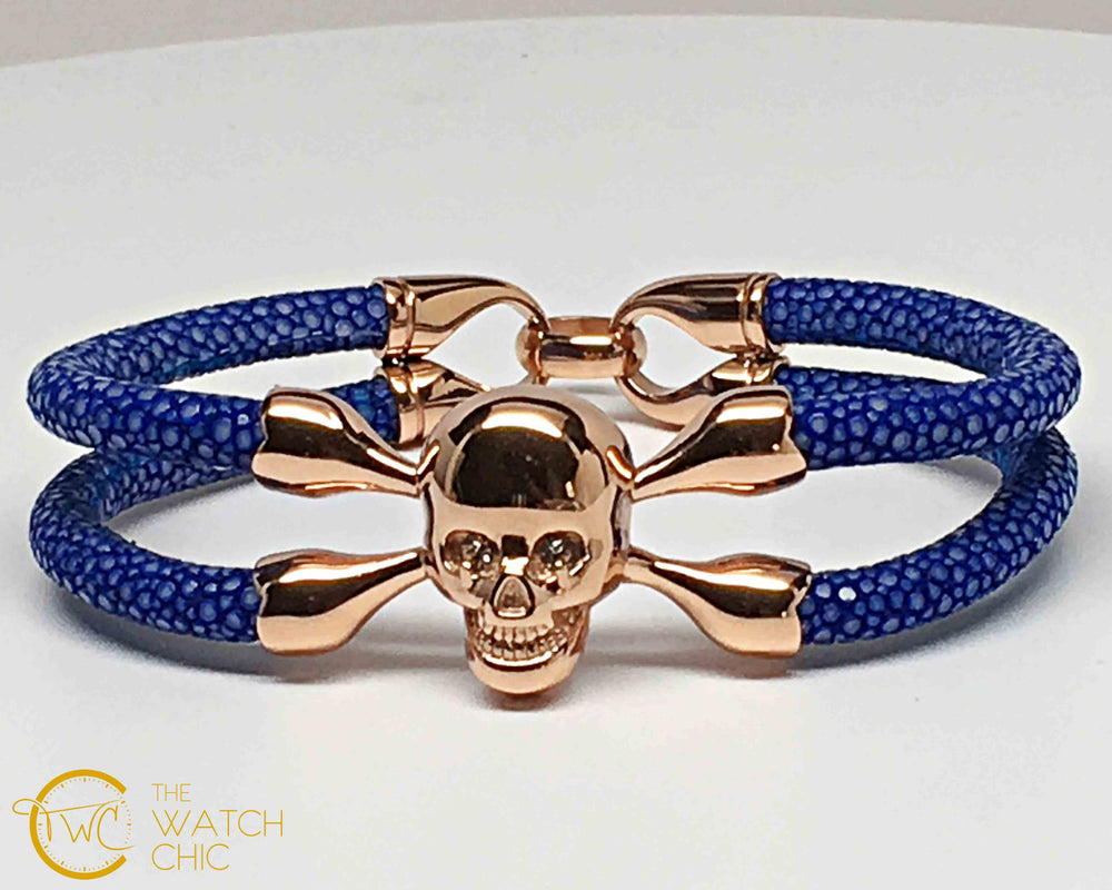 Blue Stingray Leather Bracelet Gold Plated Skull Clear Swarovski Cristal eyes