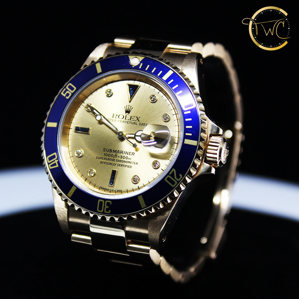 Rolex Submariner 18kt Gold Serti Diamond Dial 1993 S Serial Ref 16618