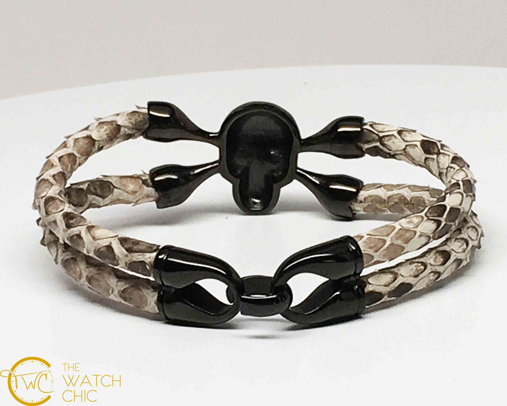Natural Python Leather Bracelet Black Skull