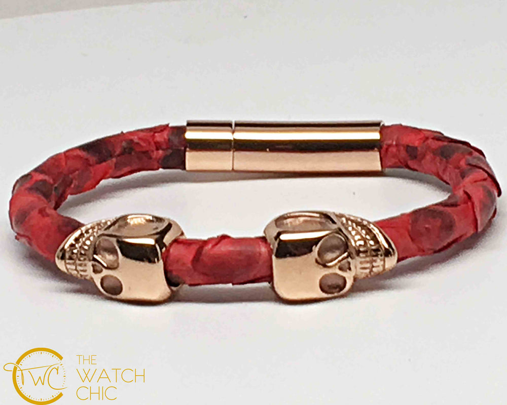 Red Python Leather Double Gold Plated Skull