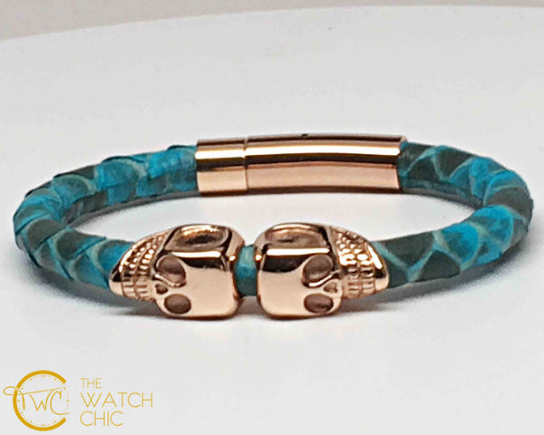 Turquoise Python Leather Double Gold Plated Skulls