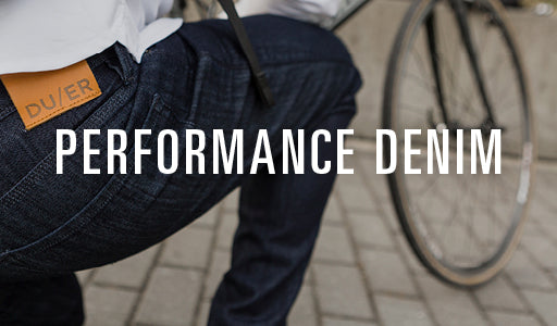 Man Cycling in Duer Performance Denim