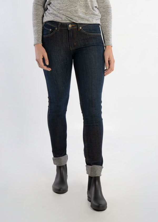 woman wearing slim fit warm stretch jeans side
