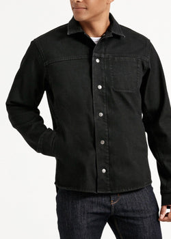 Waterproof black 3-in-1 stretch denim jacket close up