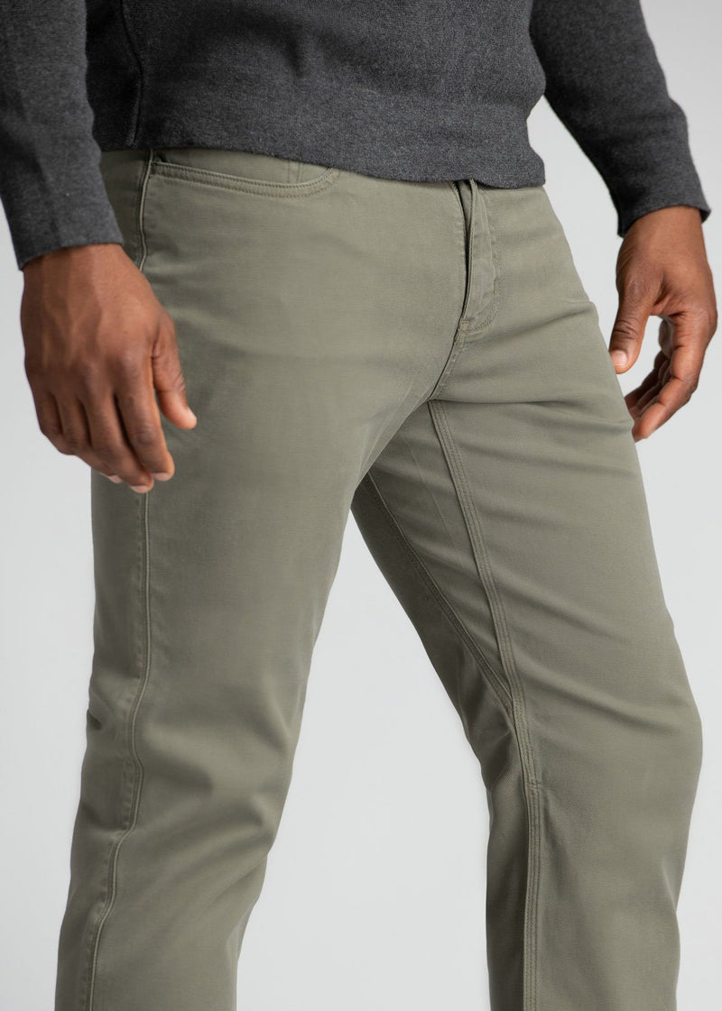 mens pale green lightweight slim pants gusset