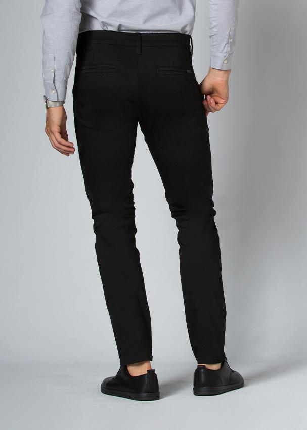 black slim fit stretch dress pant back