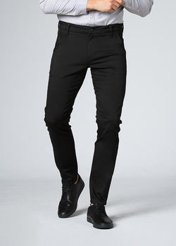 man wearing slim fit stretch dress pant