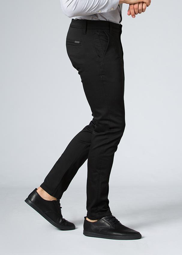 man wearing slim fit stretch dress pant side
