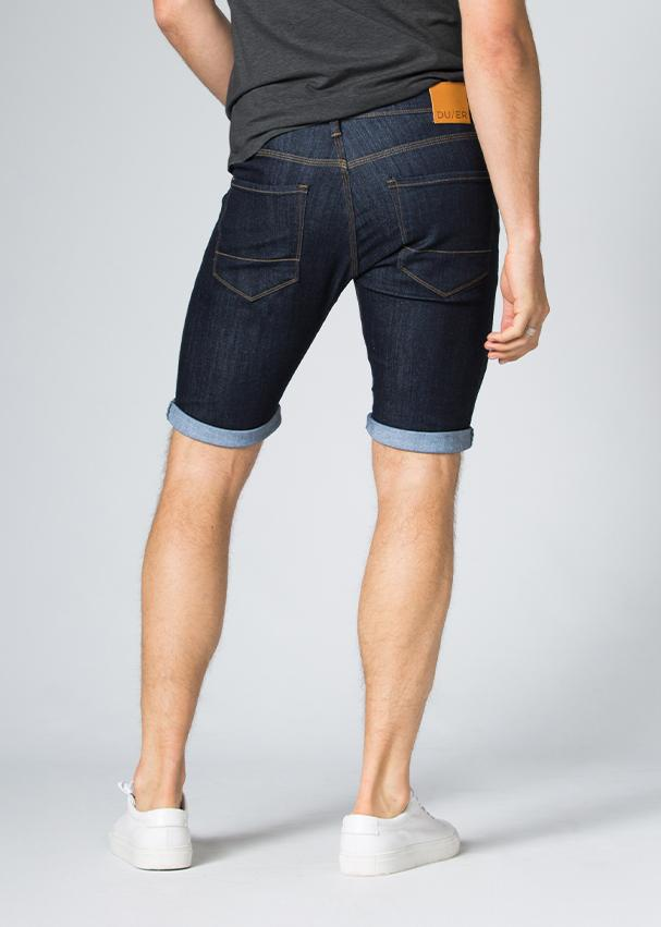 blue slim fit performance denim short back
