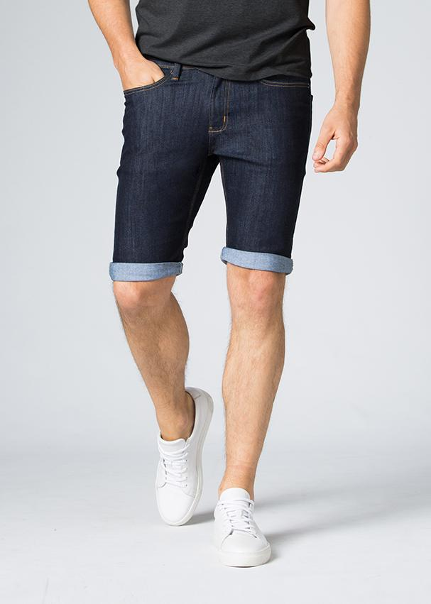 blue slim fit performance denim short front