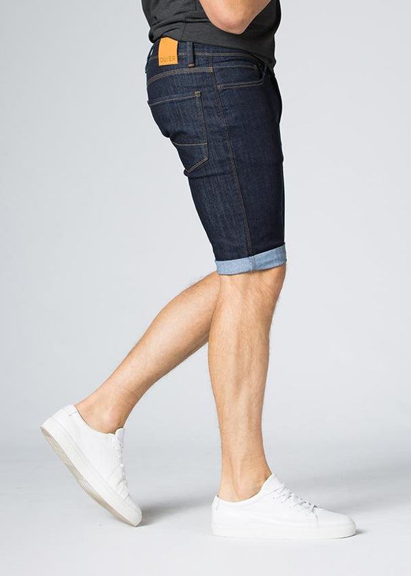 blue slim fit performance denim short side