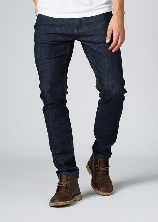 indigo water resistant stretch jeans front