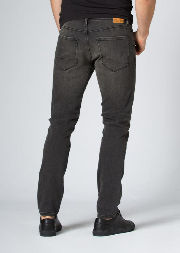 dark wash slim fit stretch jeans back