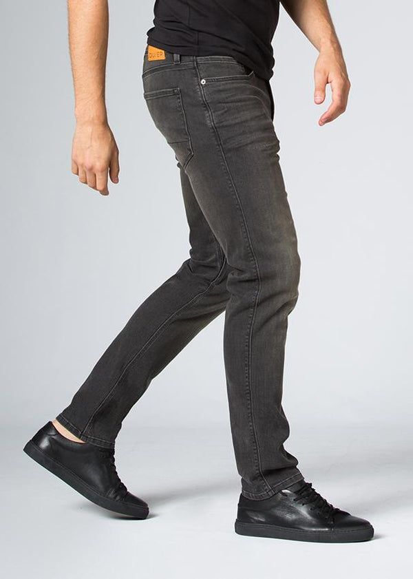dark wash slim fit stretch jeans side