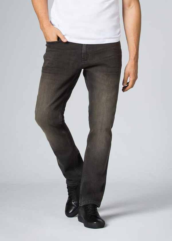 dark wash relaxed fit stretch jeans front
