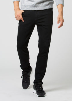 black water resistant stretch jeans front