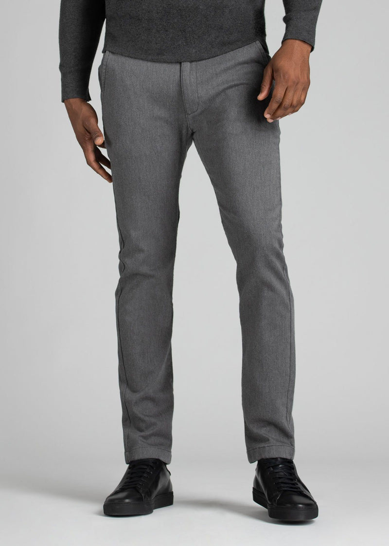 Mens heather grey slim fit summer chinos front