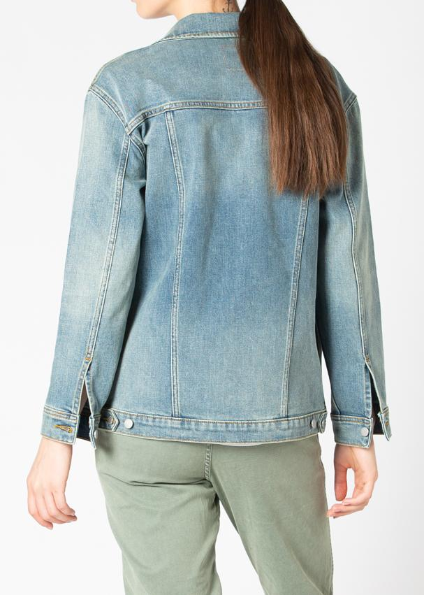 light wash stretch denim jacket back
