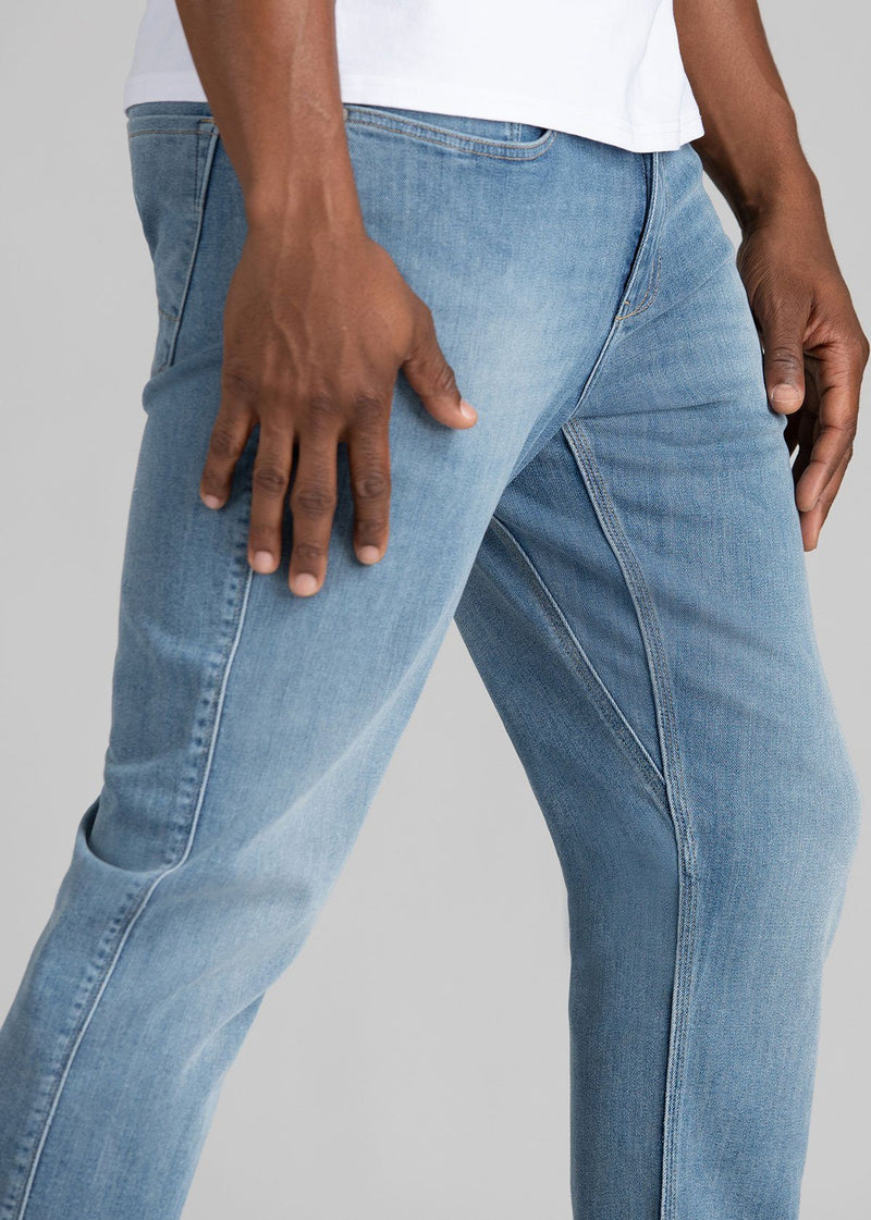 mens light wash relaxed fit stretch jeans side detail