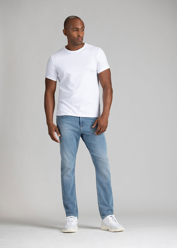 mens light wash relaxed fit stretch jeans full body