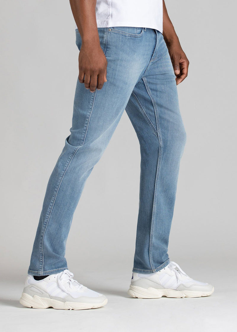 mens light wash relaxed fit stretch jeans side