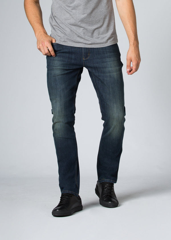 medium wash relaxed fit stretch jeans front